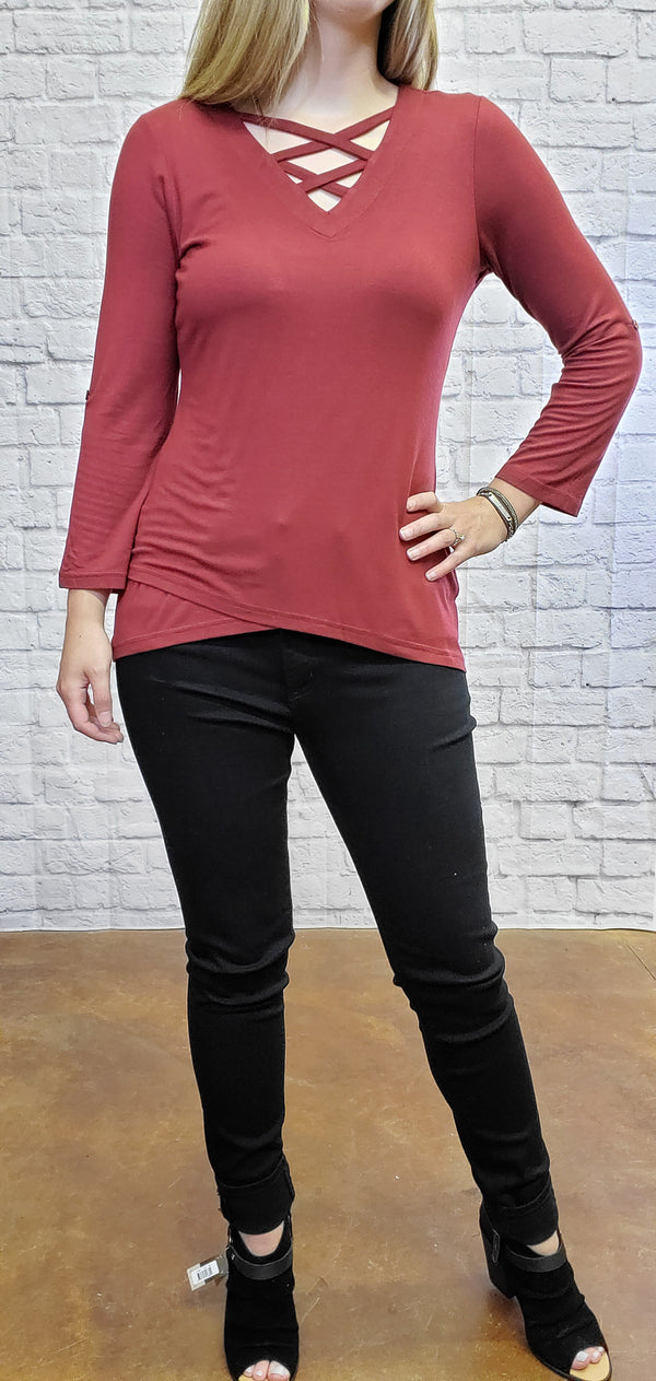 Burgundy Criss Cross Tunic-Honeyed Boutique