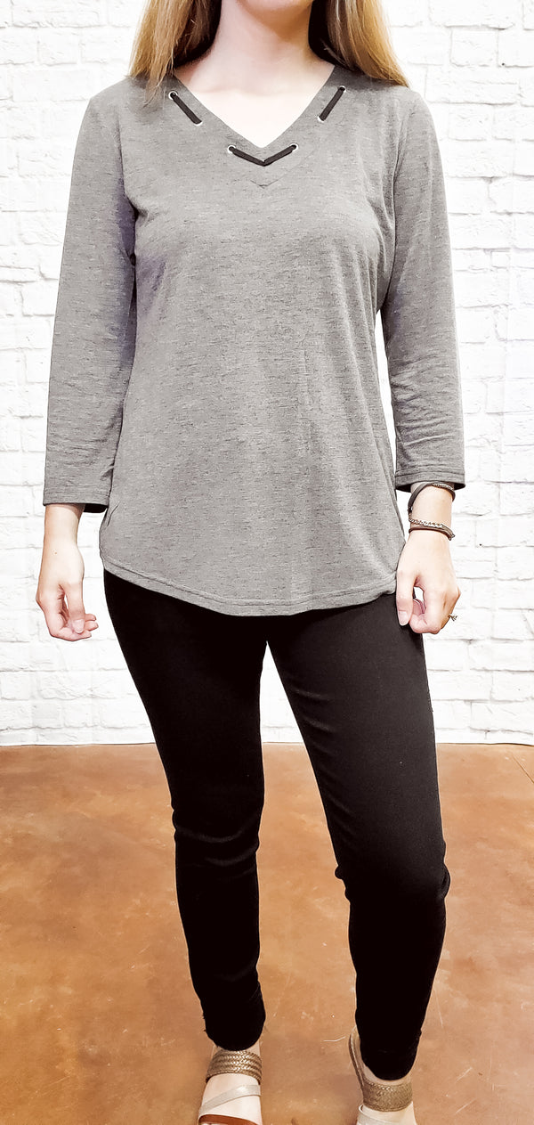 Laced Detail V Neck Top