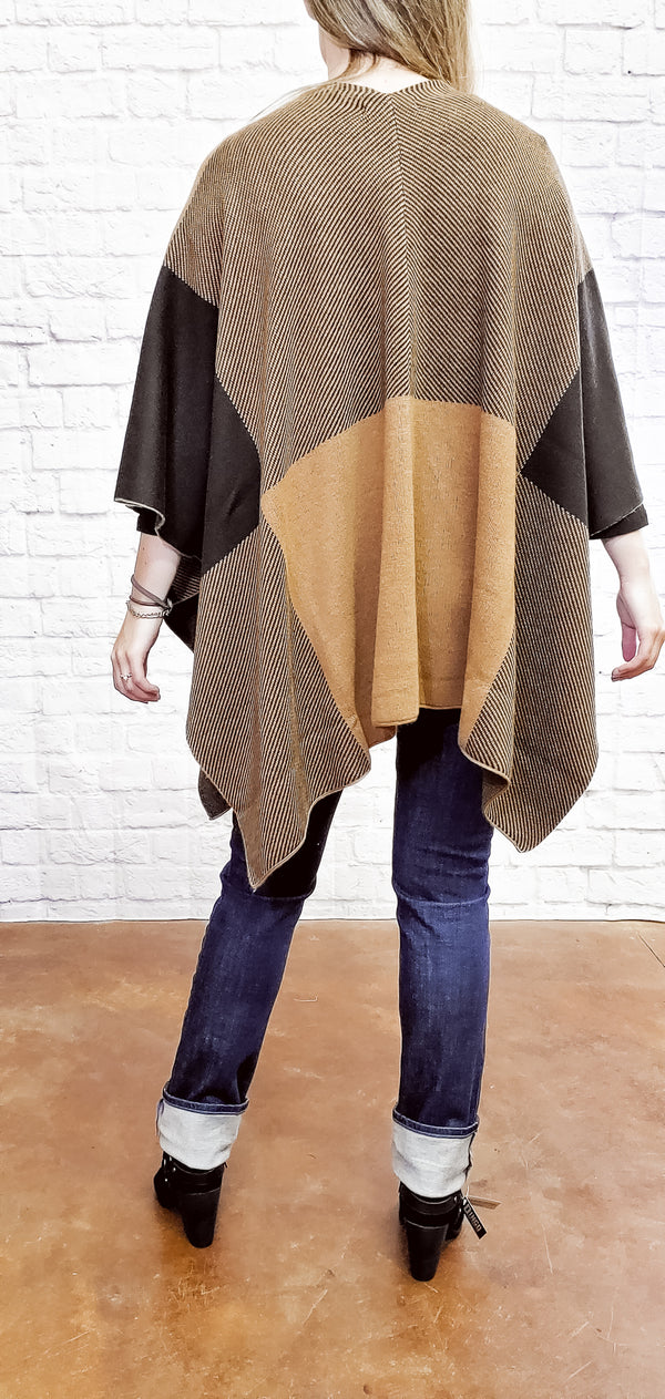 Earth Tone Poncho-Honeyed Boutique