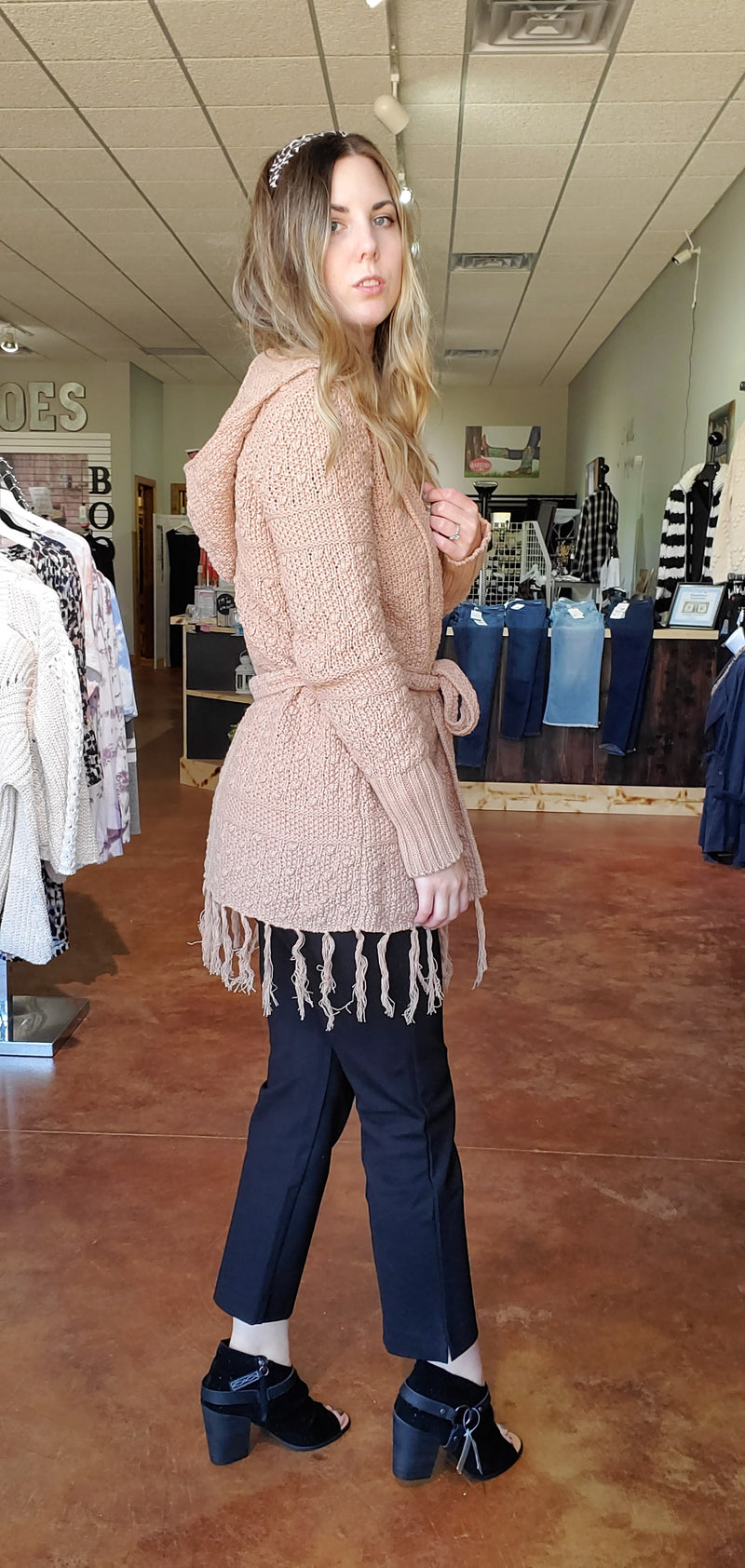 Belted Pink Frost Cardigan