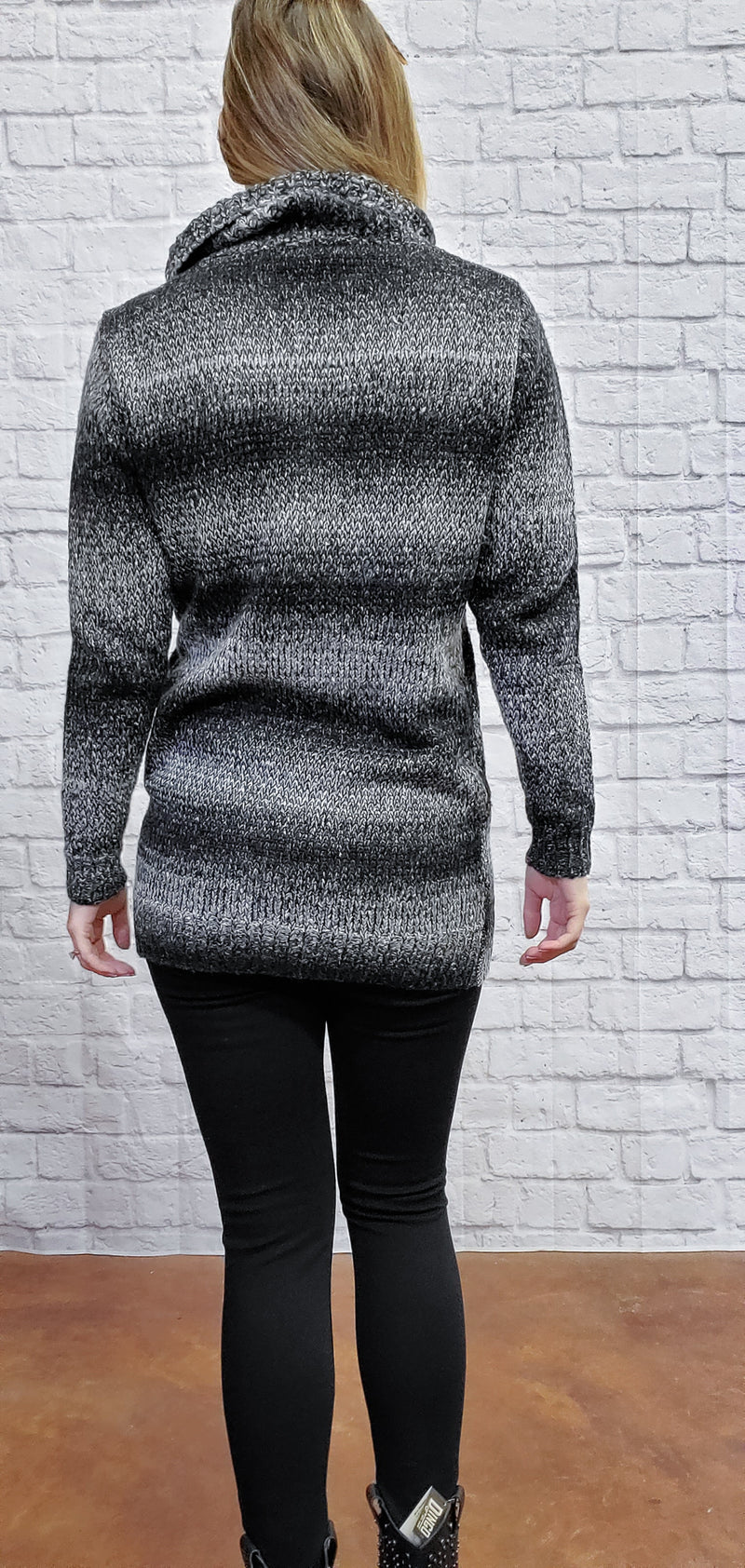Woven Knit Cowl Sweater