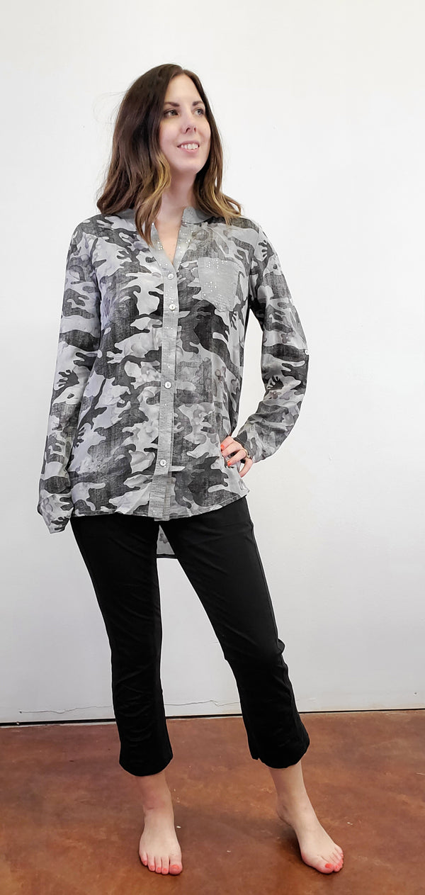 Silver Camo Button Down Tunic