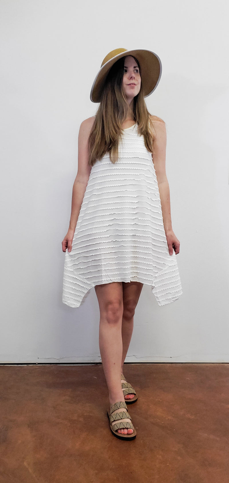Jerry White Scalloped Tiered Dress
