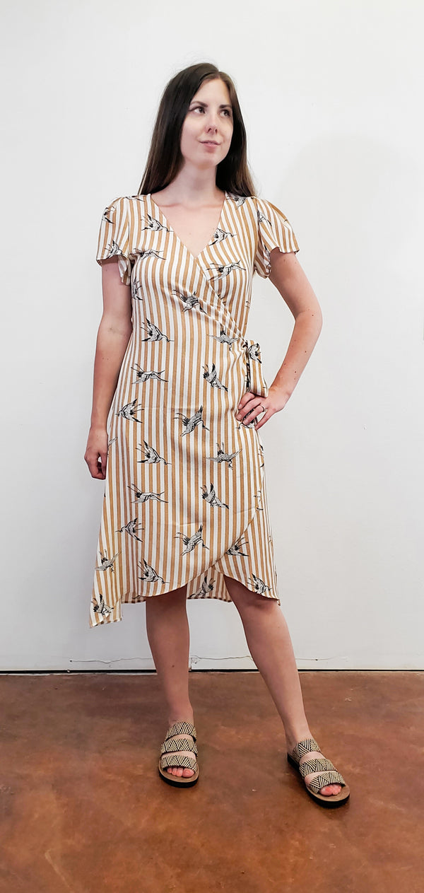 Crane Stripe Wrap Dress