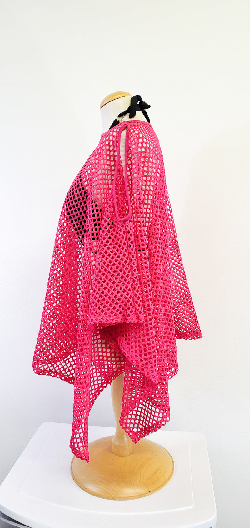 Hot Pink Mesh Cold Shoulder Poncho