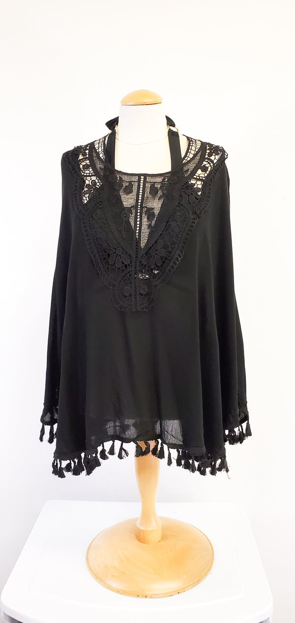 Courtney Embroidered Poncho w/ Tassels