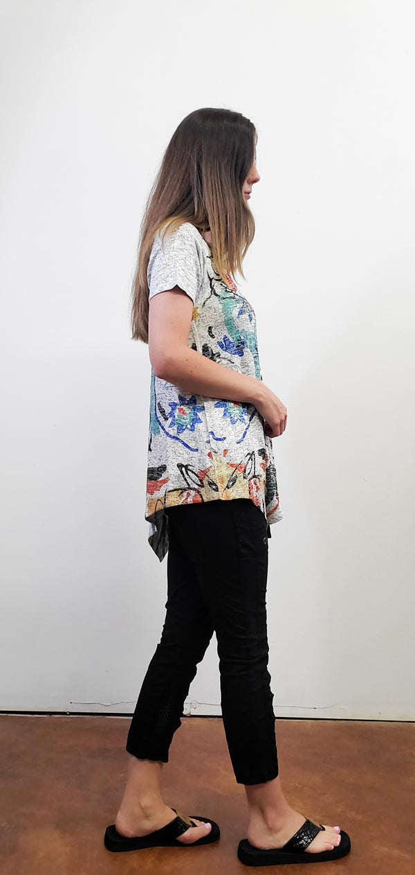 Short Sleeve Floral Artistic Top