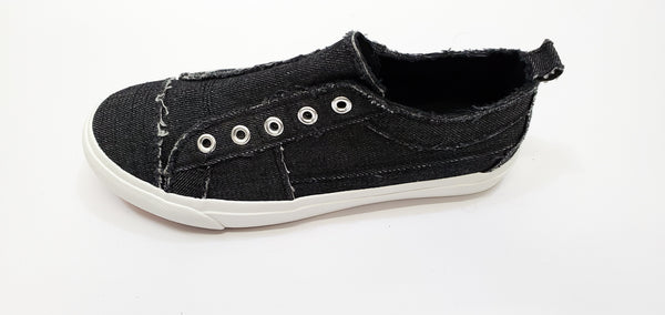 Denim Washed Black Slip on Sneakers