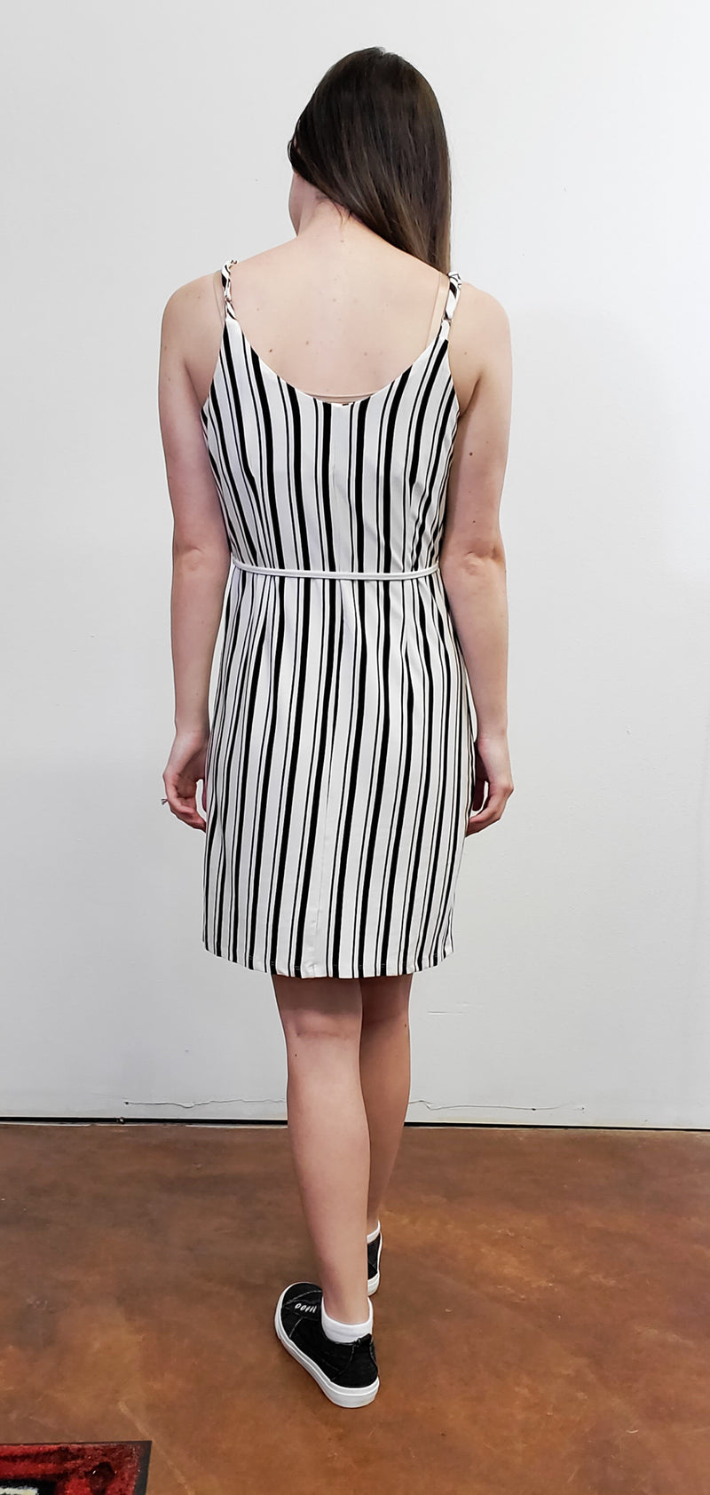 Sarah Black and White Button Detail Dress