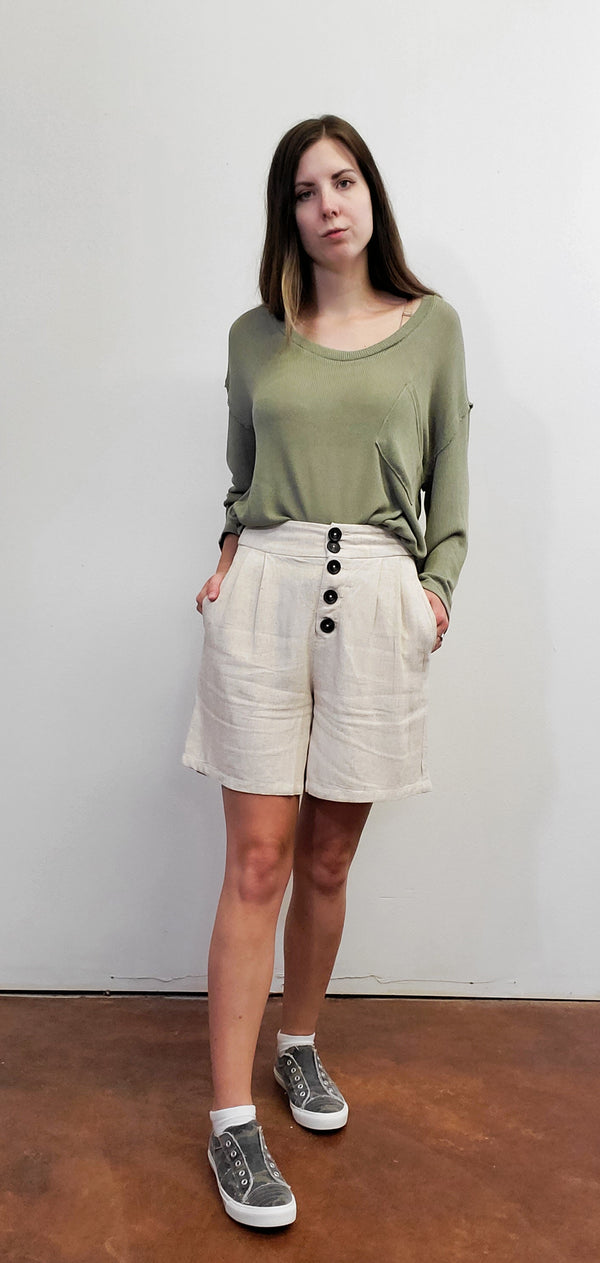 Oatmeal Linen Blend Button Detail Short