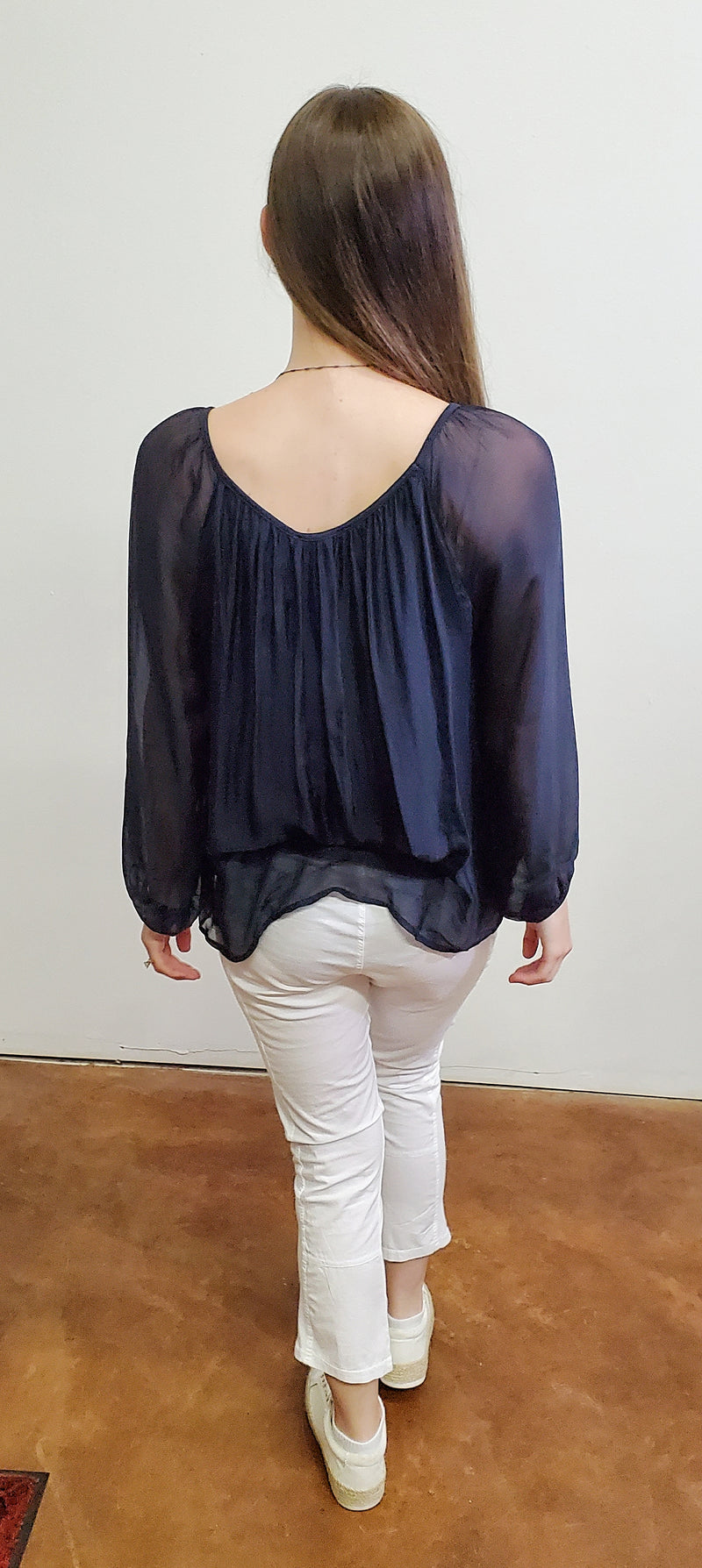 Lola Navy Sheer Sleeved Blouse