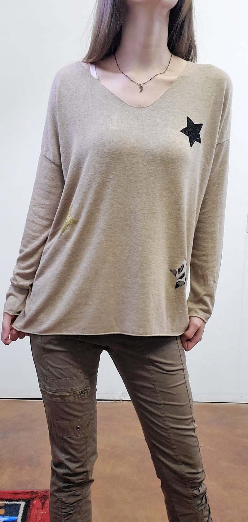 Caramel Star Pullover Sweater