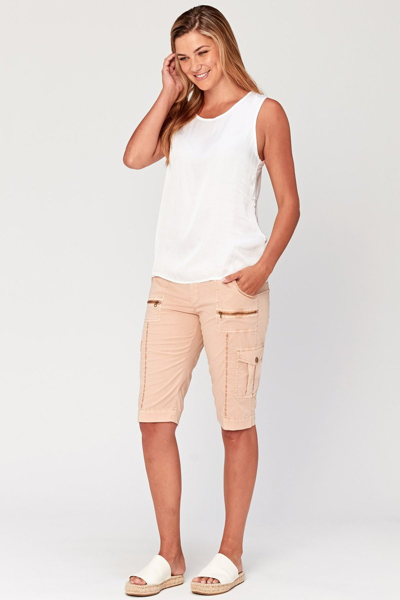 Regan Stretch Poplin Shorts-Honeyed Boutique