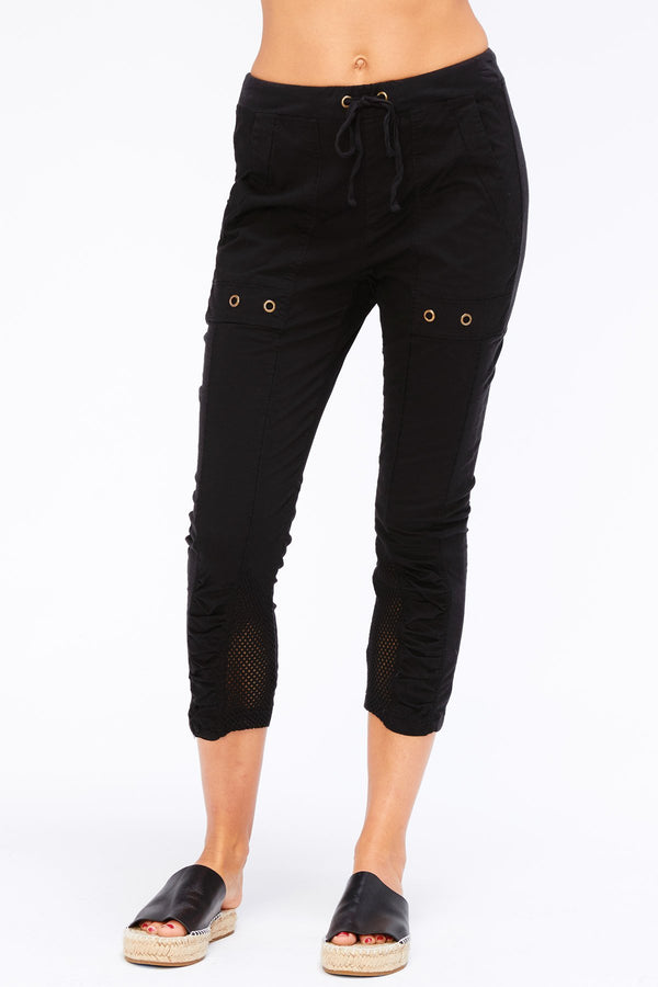 Hattie Crop-Black Stretch Poplin Bottoms
