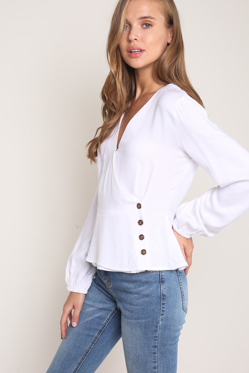 Button Down Closure Cross Top-Women - Apparel - Shirts - Blouses-Honeyed Boutique