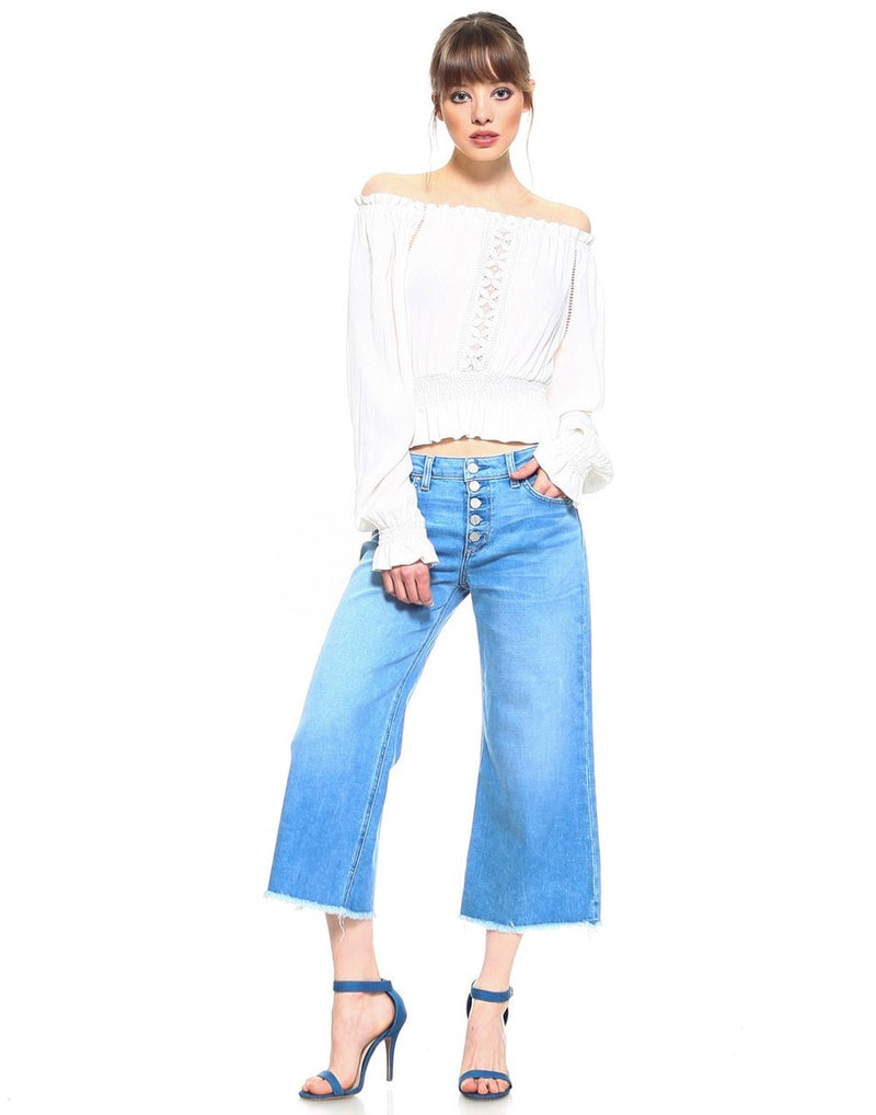 Slim Wide Leg Denim Capri-Jeans-Honeyed Boutique