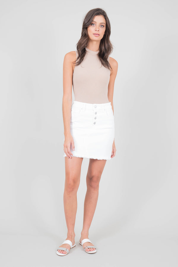 Mindie Exposed Button Denim White Skirt