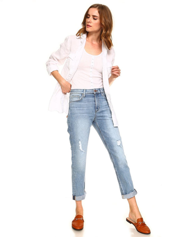 Slim High Waisted Relaxed Distressed Jeans-Honeyed Boutique