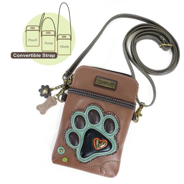 Cellphone Crossbody Paw Print Bag