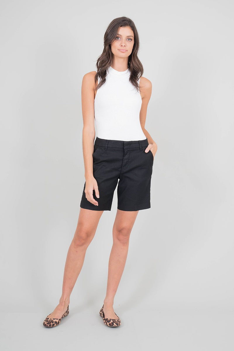 Quinn Black Mid-Length Shorts