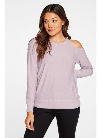 Lilac Knit Open Shoulder Pullover