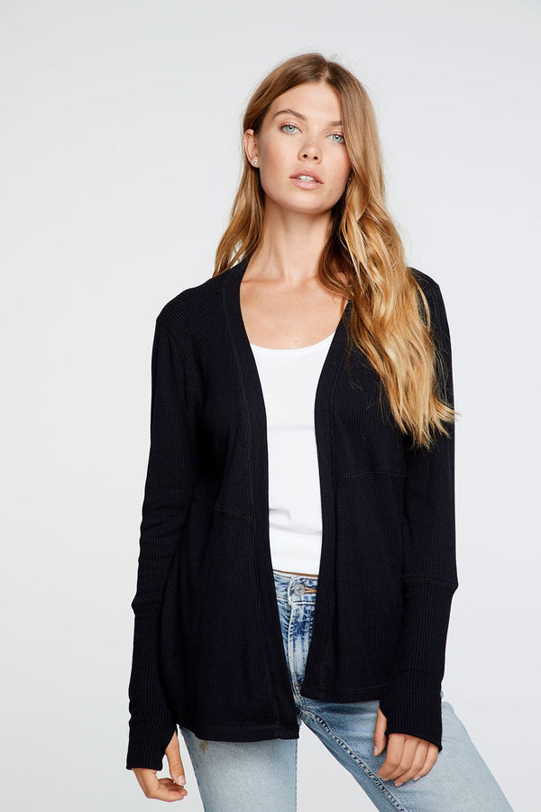 Cozy Thumbhole Black Cardigan