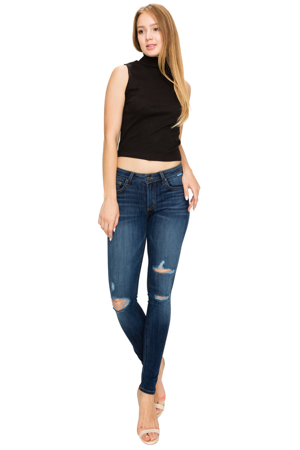 Slim Dark Washed Frayed Denim-Jeans-Honeyed Boutique