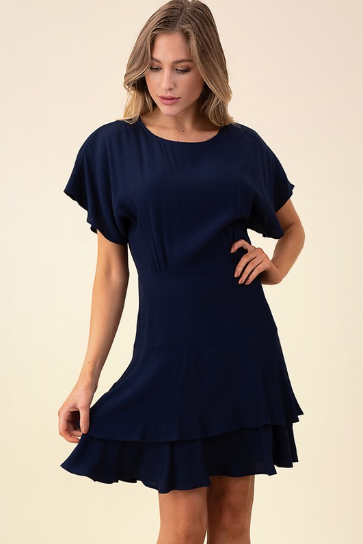 Audrey Ruffled Hem Dress-Honeyed Boutique