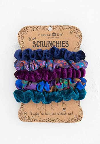 Dark Blue Mixed Scrunchie Set