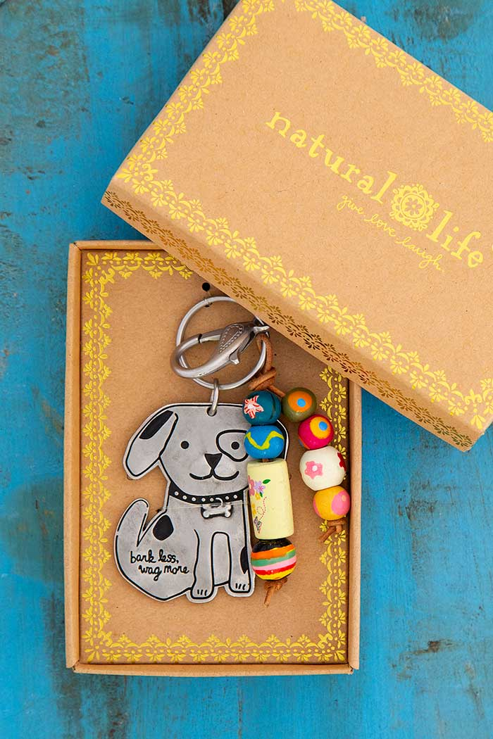 Bark Less Wag More Santa Fe Keychain-Honeyed Boutique