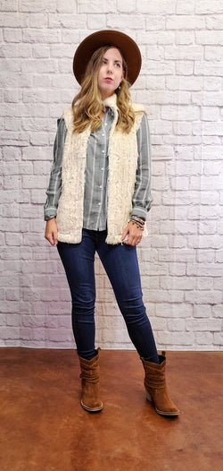 Cream Fringe Vest-Honeyed Boutique