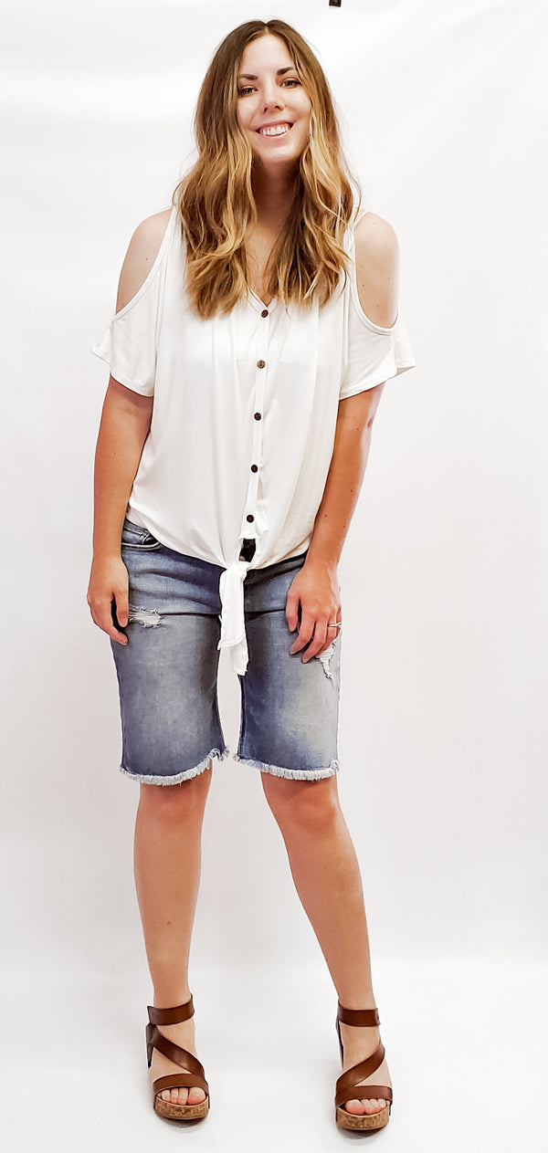 Kelsey Cold Shirt Button Down Top