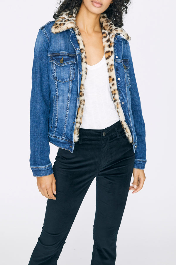 Kylie Faux Fur Leopard Denim Jacket