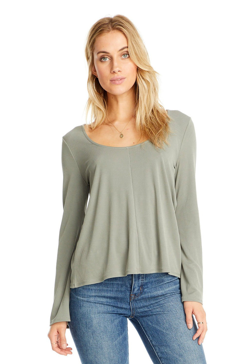 Taylor Scoop Neck Long Sleeve Tee-Honeyed Boutique