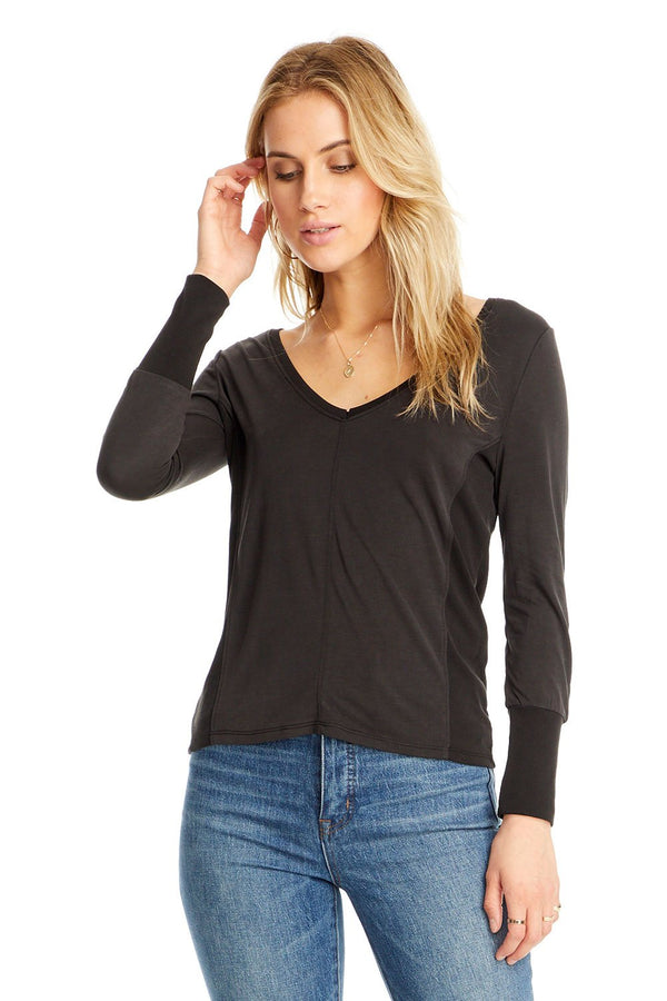 Karen V-Neck Long Sleeve Shirt-Honeyed Boutique