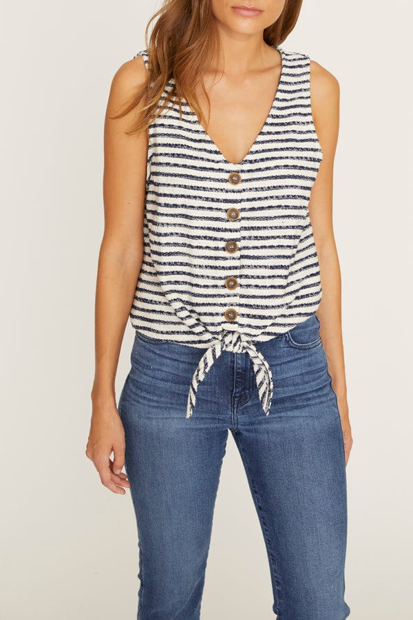 Tied To You Tank Blue Stripe