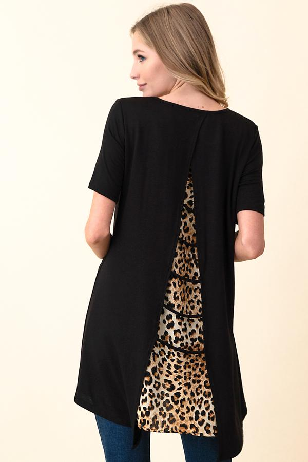 Leopard Print Contrast Shirt-Honeyed Boutique