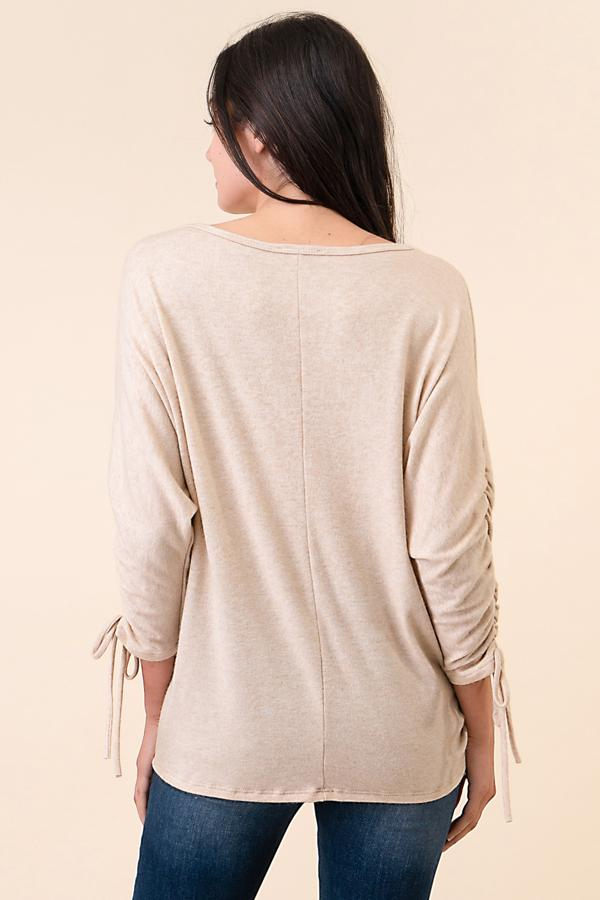 Dolmen Oatmeal Drawstring Sweater-Honeyed Boutique