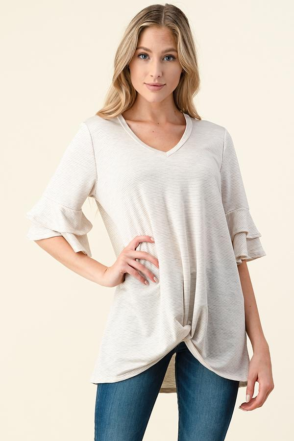 Plus Flutter Pinstripe Oatmeal Top
