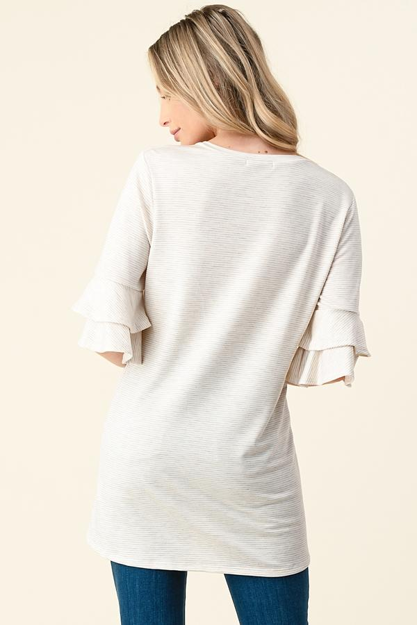 Plus Flutter Pinstripe Oatmeal Top-Honeyed Boutique