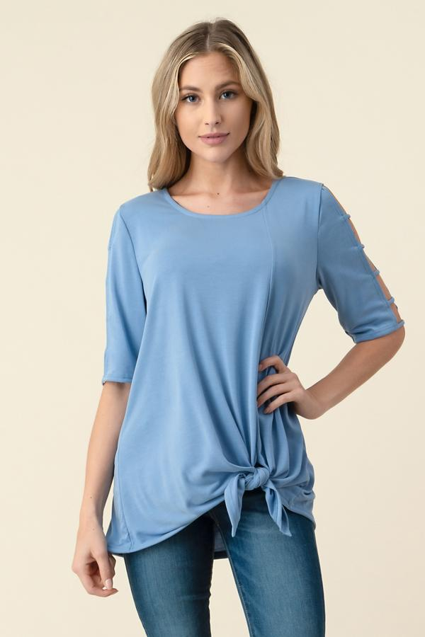 Cold Shoulder Knit Tunic-Honeyed Boutique
