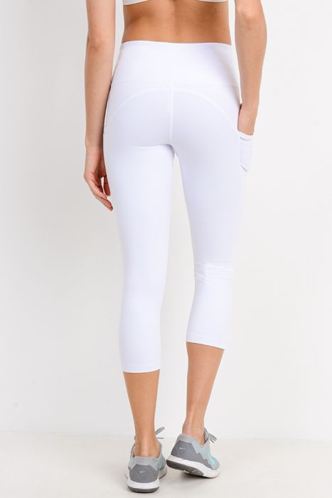 High Waisted Side Mesh Capri Leggings