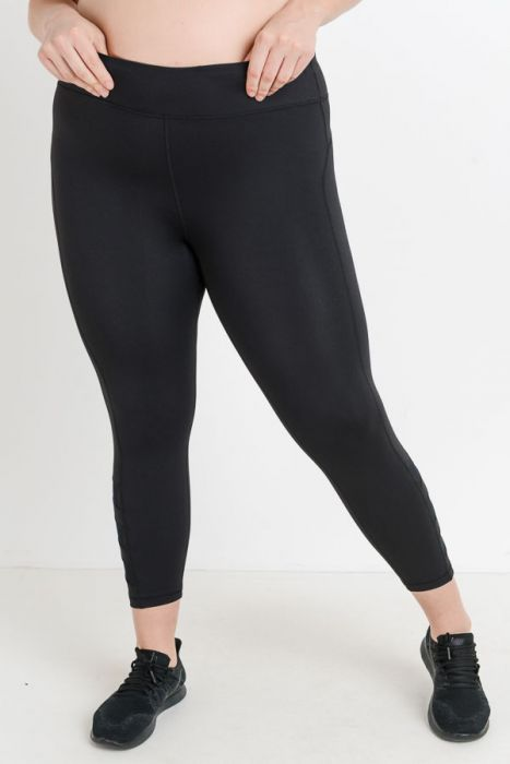 Plus Triple Slanted Mesh Leggings
