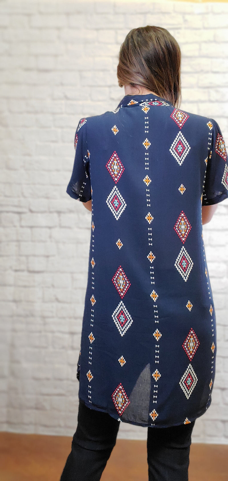 Aztec T-Shirt Dress-Honeyed Boutique