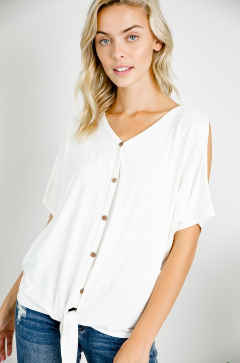 Kelsey Cold Shirt Button Down Top-Honeyed Boutique