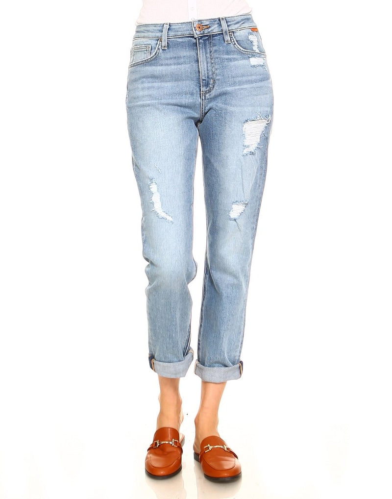 Slim High Waisted Relaxed Distressed Jeans-Jeans-Honeyed Boutique