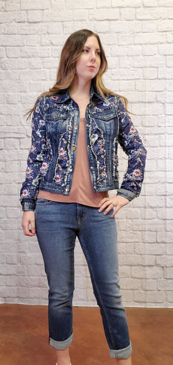 Shelly Floral Denim Jacket-Honeyed Boutique