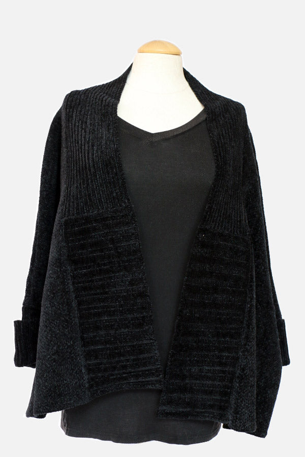Chenille Black Cardigan w/ Ribbed Seams-Women - Apparel - Sweaters - Cardigans-Honeyed Boutique