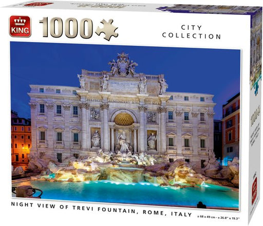 Night View Of Trevi Fountain, Rome, Italy Puzzle