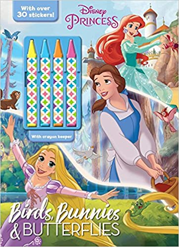 Birds, Bunnies & Butterflies Coloring Book with Crayons